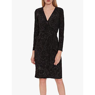 Gina Bacconi Lonnie Floral Print Dress, Black/Silver
