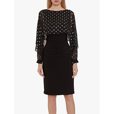 Gina Bacconi Cressa Chiffon Overtop Dress, Black/Gold