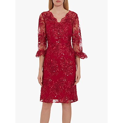 Gina Bacconi Corla Floral Embroidered Dress, Damson