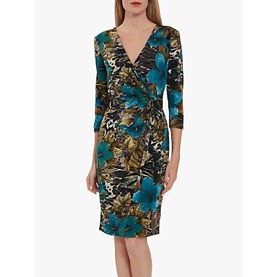Gina Bacconi Kessly Jersey Knot Wrap Dress, Dark Beige