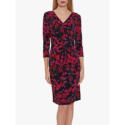 Gina Bacconi Kirpa Floral Print Wrap Dress, Magenta