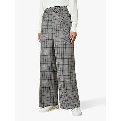 Ted Baker Marrni Wide Leg Check Trousers, Light Grey