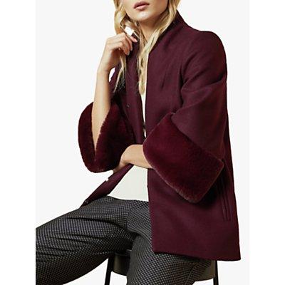 Ted Baker Rilly Faux Fur Cuff Wool Blend Coat, Purple Dark