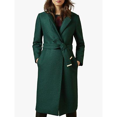 Ted Baker Chelsyy Wool Buttoned Wrap Coat, Dark Green