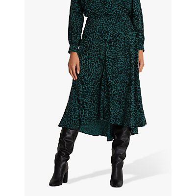 Fenn Wright Manson Petite Anouska Leopard Print Skirt, Green Animal