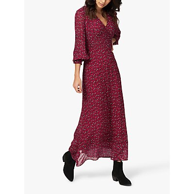 Brora Silk Smocked Maxi Dress, Chilli Leopard