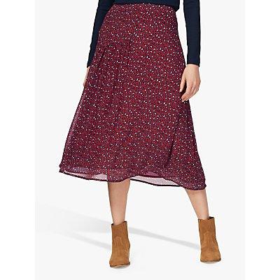 Brora Leopard Print Silk Skirt, Chilli Leopard