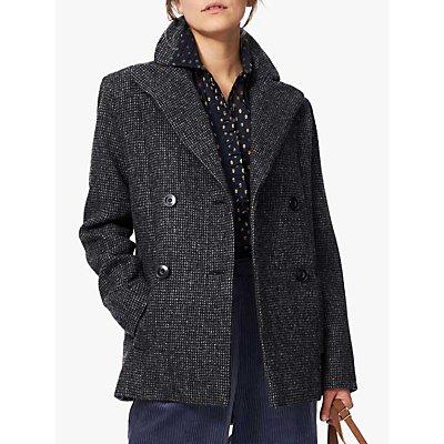 Brora Harris Tweed Pea Coat, Sorrel/Peat
