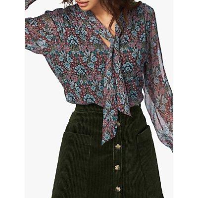 Brora Liberty Silk Chiffon Bow Blouse, Multi
