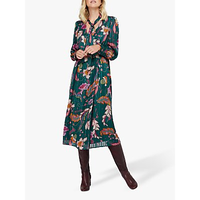 Monsoon Rosie Print Pussybow Midi Dress, Teal
