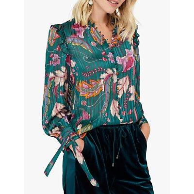 Monsoon Rosie Frill Floral Blouse, Teal