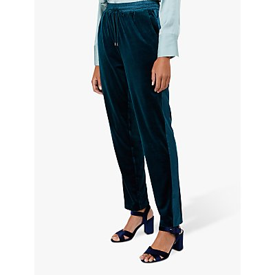 Monsoon Tyra Velvet Jogger Trousers, Teal