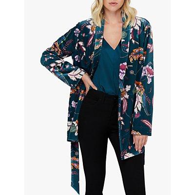 Monsoon Rosie Velvet Kimono Jacket, Teal