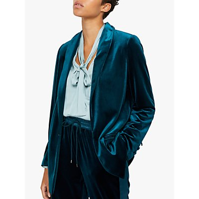 Monsoon Tilly Velvet Jacket, Teal