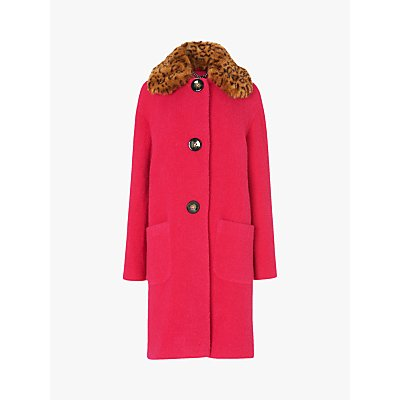 L.K.Bennett Aster Short Faux Fur Collar Coat, Pink