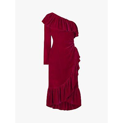 L.K.Bennett Freud Velvet One Shoulder Ruffle Dress, Magenta