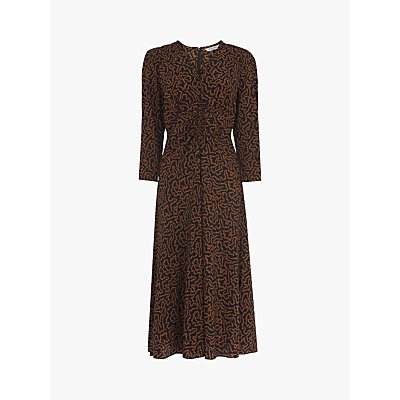 L.K.Bennett Gabrielle Abstract Midi Dress, Toffee/Black
