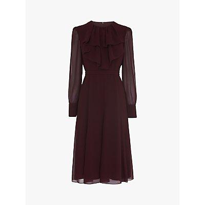 L.K.Bennett Roque Chiffon Dress, Aubergine