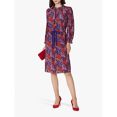 L.K.Bennett Isobel Silk Coral Print Dress, Pre-Violet