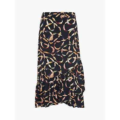 L.K.Bennett Florentin Vintage Ribbon Print Skirt, Black