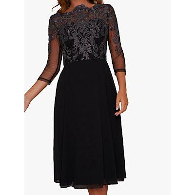 Chi Chi London Myara Embroidered Midi Dress, Black