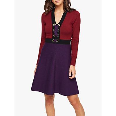 Damsel in a Dress Jetta Colour Block Dress, Burgundy/Purple