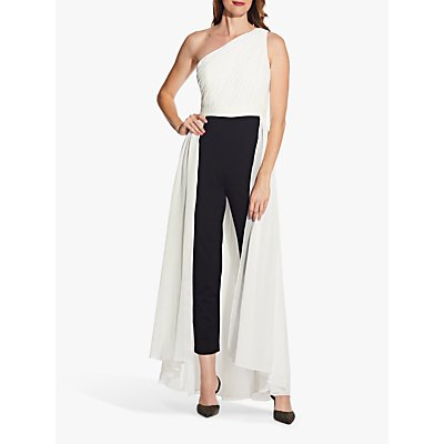 Adrianna Papell Chiffon Crepe Jumpsuit, Black/Ivory