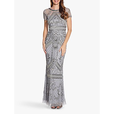 Adrianna Papell Sequin Evening Dress with Beaded Waist Detail, Silver Mist