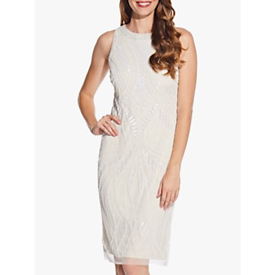 Adrianna Papell Bead Halter Sheath Dress, Ivory/Pearl