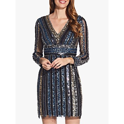 Adrianna Papell Long Sleeve Cocktail Dress with Sequin Striped Detail, Black/Multi