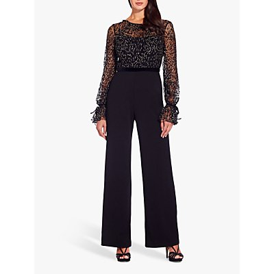 Adrianna Papell Glitter Velvet Jumpsuit, Black/Gold