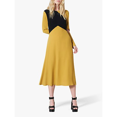 Finery Gracie Colour Block Flared Midi Dress, Yellow/Multi