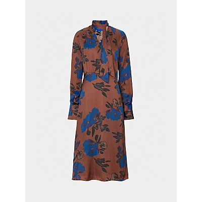 Winser London Satin Bow Floral Midi Dress, Brown