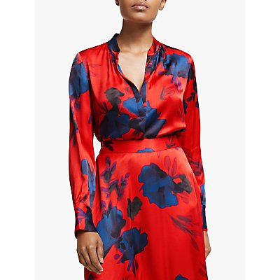 Winser London Floral Print Satin Blouse, Red
