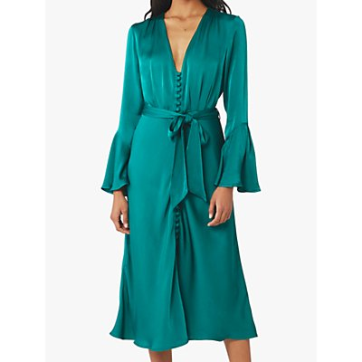 Ghost Annabelle Satin Dress, Emerald