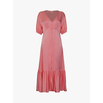 Ghost Izzy Satin Midi Dress, Rose