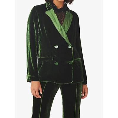 Ghost Darlene Velvet Double Breasted Blazer, Forest Green