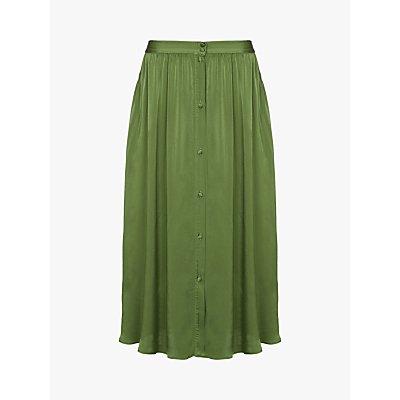 Ghost Nina Satin Midi Skirt, Forest Green