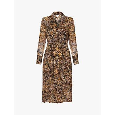 Ghost Eloise Snake Print Midi Dress, Brown
