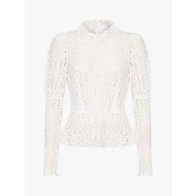 Ghost Lecice Sheer Lace Blouse, Ivory