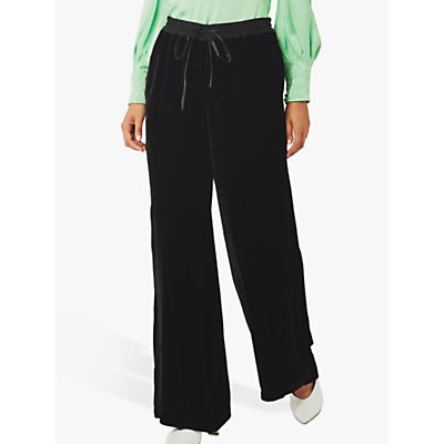 Ghost Lilly Silk Velvet Wide Leg Trousers