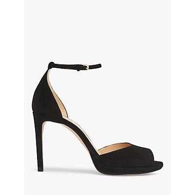 L.K.Bennett Joyce Suede Peep Toe Sandals, Black