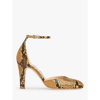 L.K. Bennett Xandra Snake Print Court Shoes, Mustard