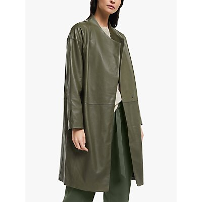 Modern Rarity Wrap Leather Coat, Green