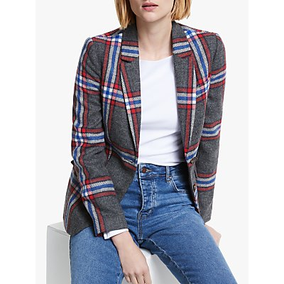 Boden Smyth British Tweed Check Blazer, Red/Grey