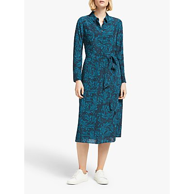 Boden Jemima Silk Dress, Navy Marbled Dreams