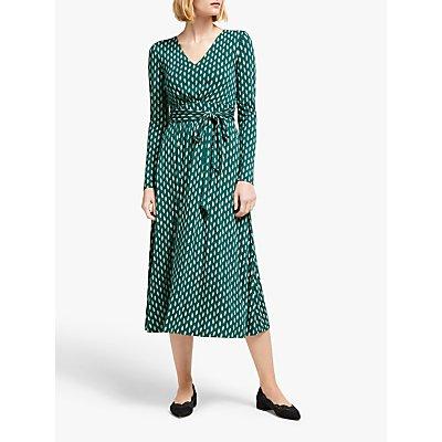 Boden Ferne Leaf Print Jersey Midi Dress, Black