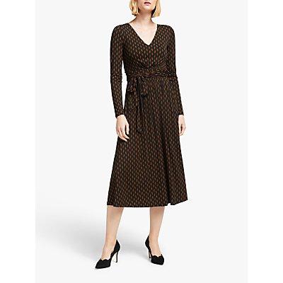 Boden Ferne Leaf Print Jersey Midi Dress, Woodland Green
