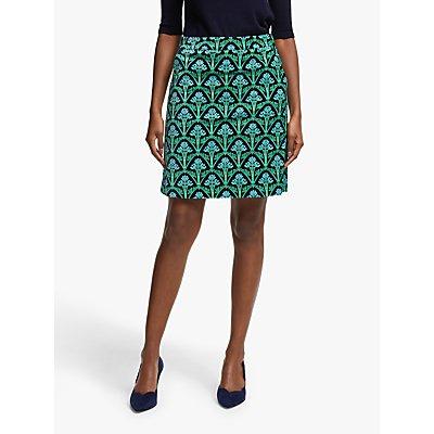 Boden Mimi Velvet Skirt, Navy/Green Bud