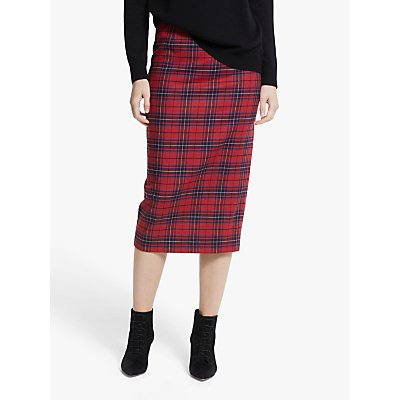 Boden Inverness Check Pencil Skirt, Poinsettia